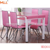 Fashion and elegant design metal steel dining table with glass