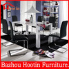 White high gloss wood dining table set, 6 seater dining table
