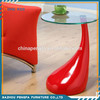 Modern Round High Gloss Base Tempered Glass Side Table