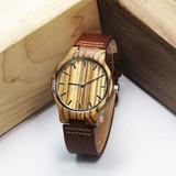 Newest zebra wood grain watches, vogue genuine leather strap watch