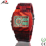 Shenzhen brand quality wooden watch with digital movement and quartz movement