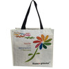 Laminated pp woven bag/shopping bag with handle and flower picture