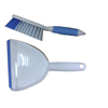 Plastic dustpan with brush set for cleaning, with soft grip handle
