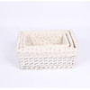 Willow storage basket with beautiful striped cloth
