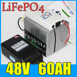 48V 60AH LiFePO4 Battery Pack ,3000W Electric bicycle Scooter lithium battery + BMS + Charger