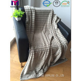BLANKET/ Coral fleece back printed with stripe design blanket/polyester blanket