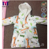 baby bathrobe /Double plys Printed micro mink/coral fleece  with hood baby  bathrobe/polyester bathrobe