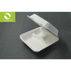 8 inch disposable biodegradable clamshell with 3 department
