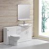 backing finished bath cabinet with LED light mirror and cistern