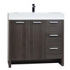 "35.5"" Modern Bathroom Vanity Grey Oak Finish"