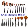 10PCS/Set Oval Tooth Black Design Makeup Brush Set for Cosmetic