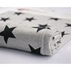 Printed Cotton Lycra Black Star Design Fabric for Garment