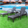 Latest design garden pool furniture comfortable relaxing rattan sofa rest chair high back chair armchair with pedal wholesale