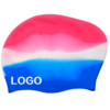 multi color silicone long hair swim cap