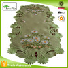 Green Table runner Tablecloth Doily White Daisy Flower Embroidery