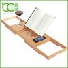 Bamboo Organizer bathtub caddy with wine,phone,ipad storage