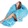 100% Natural Super Soft Wool thick Line Knitted Blanket