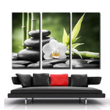 Modern Canvas Painting High Quality Giclee Printed Oil Painting Pictures 3 Panel Green Bamboo White Flower Beauty Salon Decor