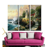 Wall Art Canvas Posters and Prints 3 Panel Fine Art Giclee Printing Thomas Kinkade Light of Peace Design Modern Painting