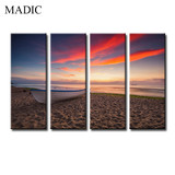Modern Photography Wall Art Canvas Prints Seascape Painting with Boats Ready to Hang