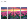 Beautiful Red Flower Canvas Oil Painting Large 4 Panel Framed Photo Prints Tulip Field in Sunset Scenery Wall Art Pictures