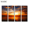 New Arrival 4 Panel Wall Art Home Decoration Sunset Landscape Canvas Painting Living Room Wall Art Prints Framed