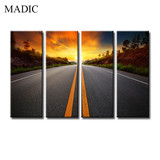 Multi Panel Canvas Wall Art 4 Piece the Highway Landscape Design Painting on Canvas Realistic Giclee Prints Maufacturer