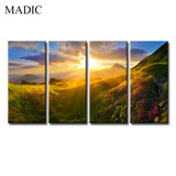 Modern Wall Art Home Decoration 4 Panel Framed Canvas Prints Sunrise Scenery Oil Painting Sunshine and Mountain
