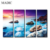 Beautiful Sea Scenery Painting Modern Wall Art Canvas 4 Panel Living Room Wall Oil Painting Pictures Best Quality