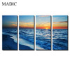 Top Quality Modern Wall Art Realistic Paintings on Canvas 4 Piece Sea Landscape Oil Painting Printed and Framed the Blue Sea