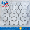 Regular pattern bianco carrara marble mosaic tiles, hexagon, square, diamond, herringbone pattern
