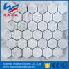 Regular pattern bianco carrara marble mosaic tiles, hexagon, square, diamond, herringbone pattern