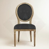 Antique Wood Black Linen Dining Chairs