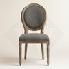 Antique Wood Grey Linen Dining Chairs