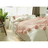 100% acrylic cotton wool line color pompon knit throw blanket pillow set