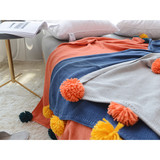 100%cotton ladder line knit blankets and throws, with luxury oversized fringe
