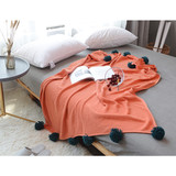 100% cotton new material light weighted cotton cross interlock square knit bed pillow throw blanket