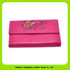 14332 fashionable silk flowers pattern leather purse for girls