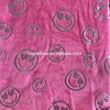 purple gilding flannel fabric/coral fleece fabric with smile patterns