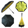 Manual Open And Auto Closed LED Handle Inverted Umbrella With Reflective Piping