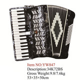 Parrot 34 Keys 72 Bass Piano Accordion With Case And Straps