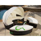 Sectional Outdoor Wicker Sunbed Rattan Lounger with Canopy