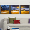 Oil Painting Set 3 Panel Lavender Field in Sunset Landscape Oil Painting on Canvas Framed Canvas Wall Art Pictures