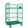 Industrial steel rolling cage pallet cart with wheels