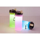LED solar silicone camping water bottle & lantern