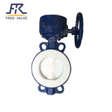 FEP Lined butterfly valve FRD341F46,PTFE/FEP/PFA lined Flange type butterfly valve with worm box