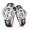 Chronograph Titanium Men WatchCouple Leather Watch With Swiss Movt and Swarovski Stones