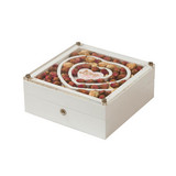 Rose Decorated White Painted Wooden Packaging and Jewelry Gift Box