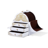 Luxury Multi-function White Glossy Lacquered Wooden Jewelry Packaging and Gift Box