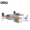 modern open office desk in wood with 4 partition